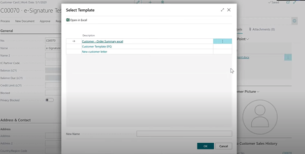 SharePoint Connector - e-signing request sent from Dynamics 365 Business Central