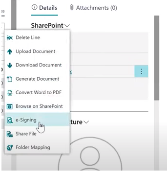 e-signing from Dynamics 365 Business Central with SharePoint Connector